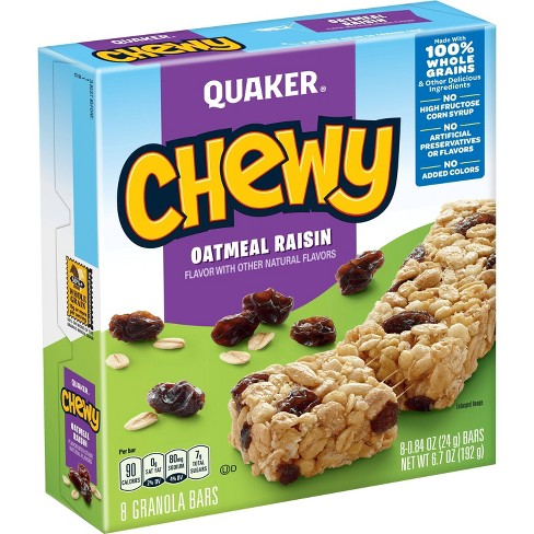 Quaker Chewy 90 Calories Low Fat Oat Meal Raisin Granola Bars - 8ct - image 1 of 4