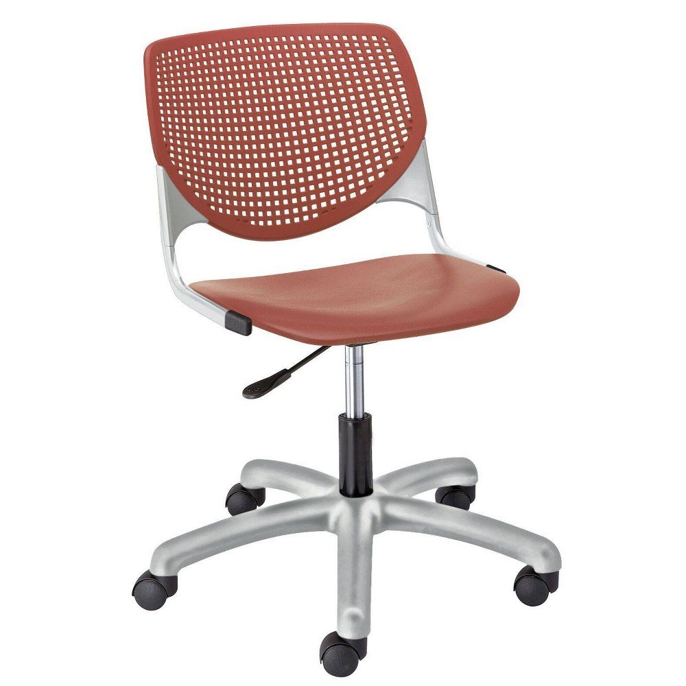 This attractive and comfortable computer chair is the perfect fit for almost any application! Great as a task chair, training/conference rooms, collaborative areas, or any multi-use application. The ergonomic perforated back allows for enhanced circulation, while the radius conforms to your back for maximum comfort. The ergonomic office chair offers a contoured extra-wide seat pan to provide comfort and accommodate all sizes. The seat is supported by a steel frame with secures to the base for maximum durability. The gas lift allows for seat height adjustments from 15.5\\\