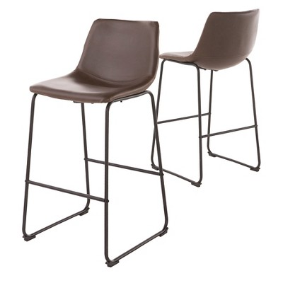 "Set of 2 30"" Cedric Faux Leather Barstool Vintage Brown - Christopher Knight Home"