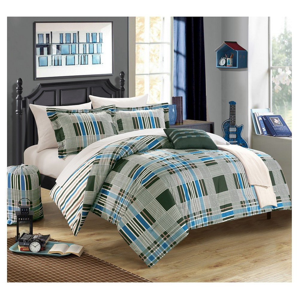 10pc Full Cambridge Plaid Printed Reversible with Geometric Striped Printed Backing Comforter Set Green - Chic Home Design