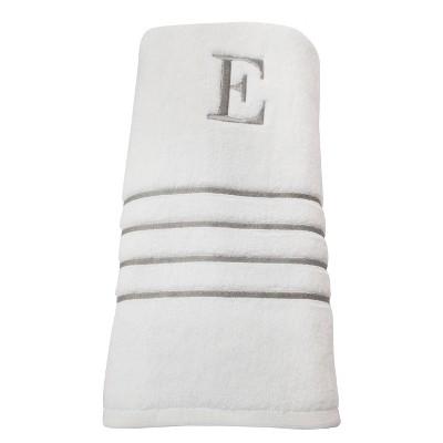 Monogram Bath Towel E - White/Skyline Gray - Fieldcrest®