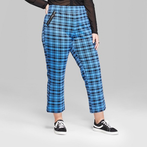 e6bc13f9218 Women s Plus Size Plaid High-Rise Ankle Flare Pants - Wild Fable™ Blue 1X