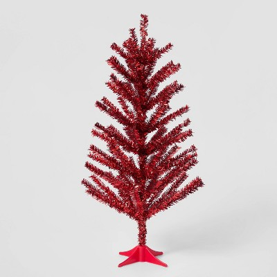 2ft Shiny Red Tinsel Artificial Christmas Tree - Wondershop™