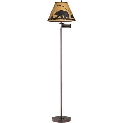 360 Lighting Modern Swing Arm Floor Lamp Adjustable Bronze Mountain Scene Empire Shade for Living Room Reading Bedroom Office