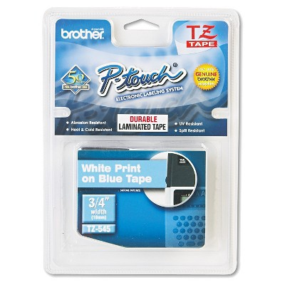 Brother P-Touch TZ Standard Adhesive Laminated Labeling Tape - White/Blue