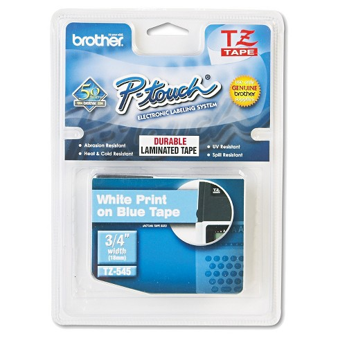Brother P-Touch TZ Standard Adhesive Laminated Labeling Tape - White/Blue - image 1 of 1