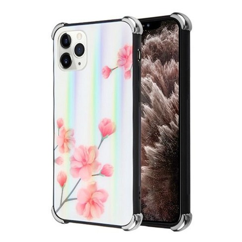 Valor Tempered Glass Spring Flowers Crystal Case Cover compatible with Apple iPhone 11 Pro Max, White/Pink - image 1 of 2