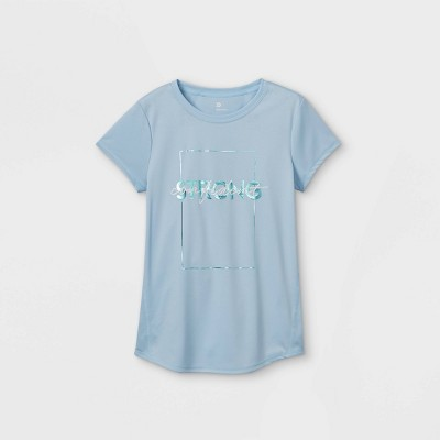 Girls' Short Sleeve 'Confident Strong' Graphic T-Shirt - All in Motion™ Blue