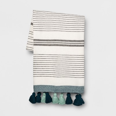 Teal Pom Pom Stripe Oversized End of Bed Throw - Opalhouse™