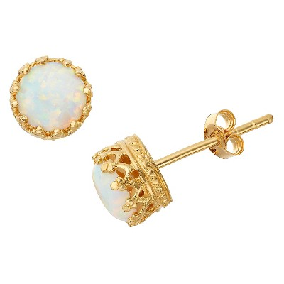 6mm Round-cut Opal Crown Earrings in Gold Over Silver