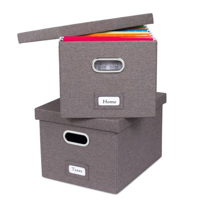 BirdRock Home Set of 2 Linen File Box
