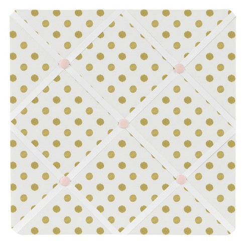 "Gold & White Polka Dot Amelia Photo Memo Board (13""x13"") - Sweet Jojo Designs - image 1 of 2"