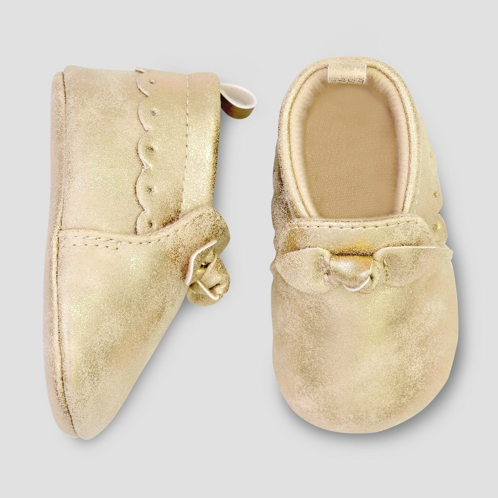 Baby Girls' Moccasin Crib Shoes - Just One You made by carter's Gold 3-6M