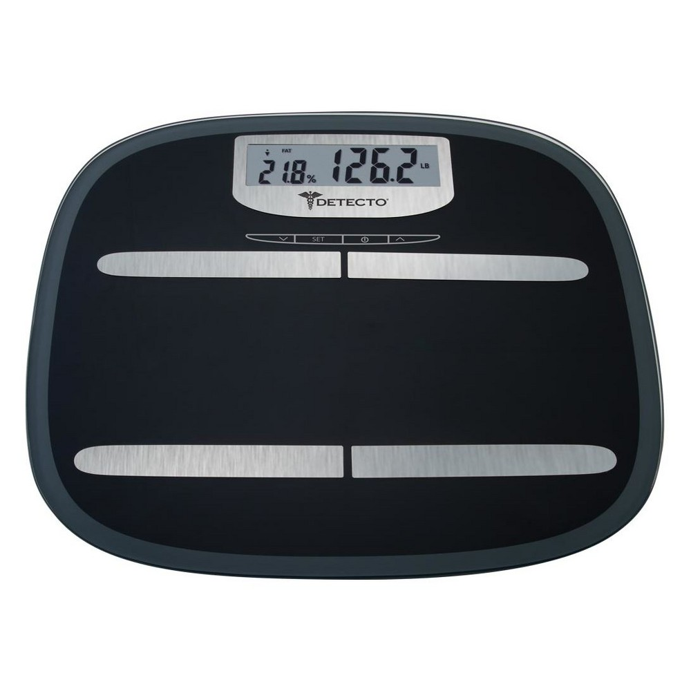 Image of Wide Platform Glass Digital Body Fat Personal Scale Black - Detecto