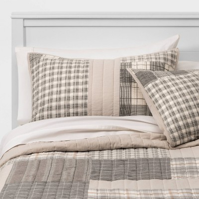 Threshold™ Flannel Patchwork Sham Gray and Tan