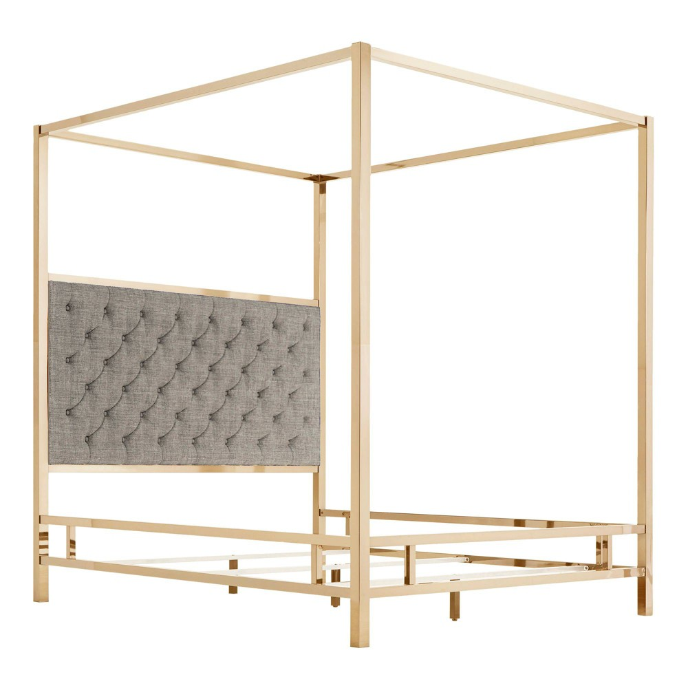 Full Manhattan Champagne Gold Canopy Bed with Diamond Tufted Headboard Smoke (Grey) - Inspire Q