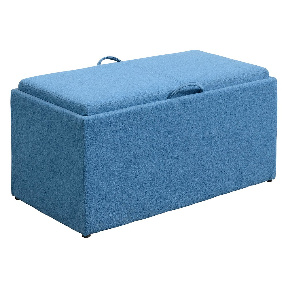 Johar Furniture Designs4Comfort Sheridan Storage Bench With Side Ottomans Blue