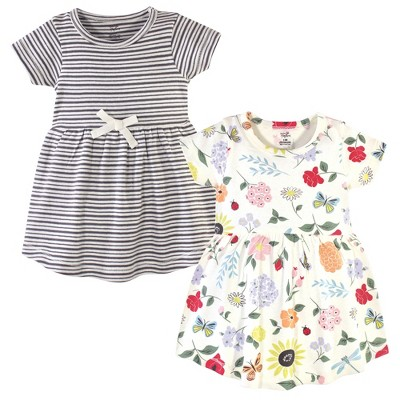 Touched by Nature Baby and Toddler Girl Organic Cotton Short-Sleeve Dresses 2pk, Flutter Garden