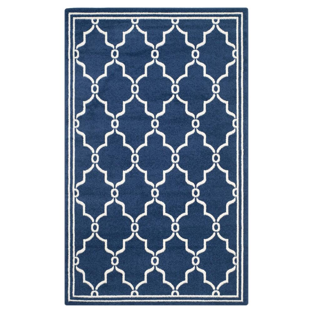 Prato 4'X6' Indoor/Outdoor Rug - Navy Blue/Beige - Safavieh