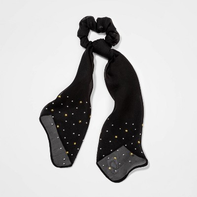 Star Printed Scarf Hair Twister with Tails - Wild Fable™ Black
