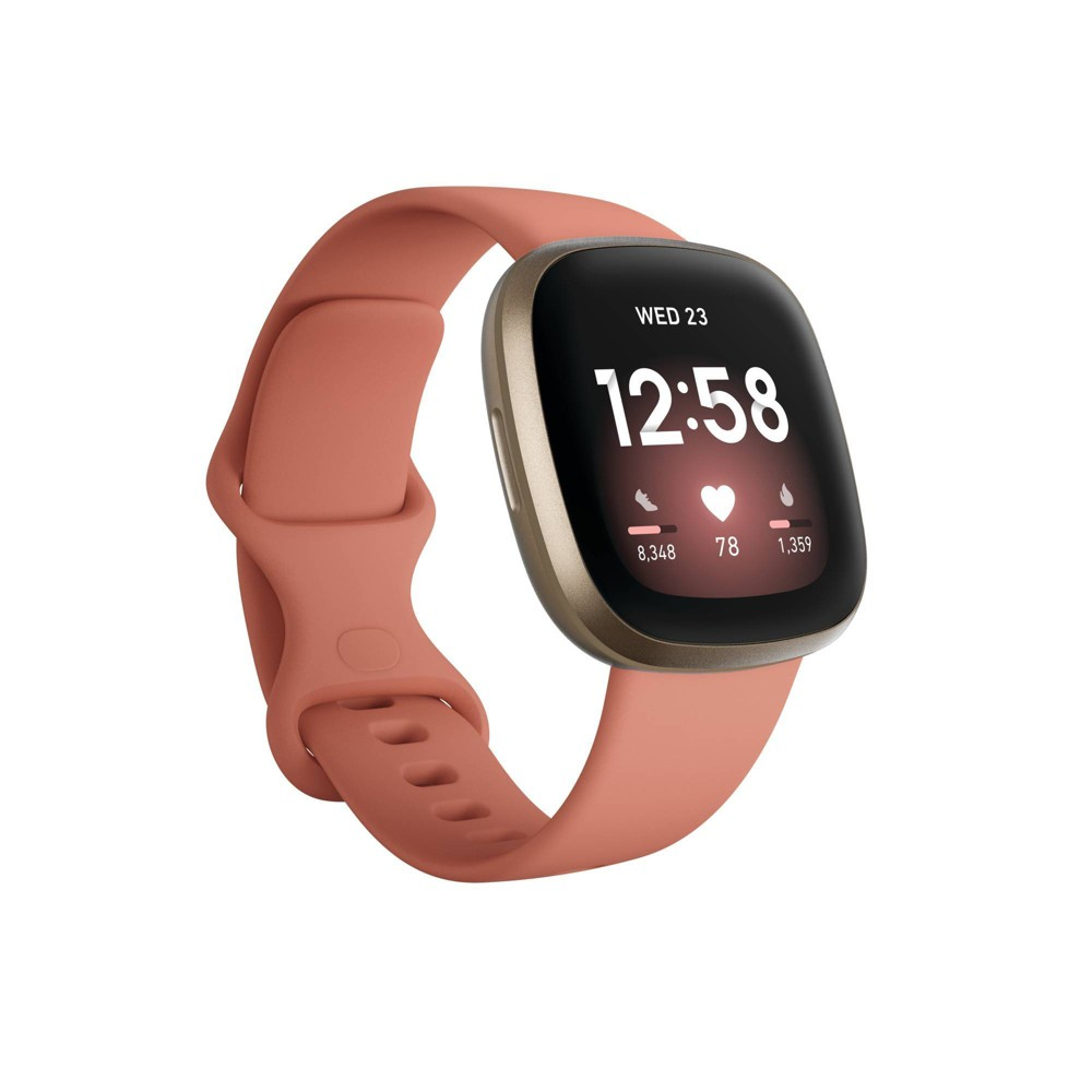 Fitbit Versa 3 Smartwatch Soft Gold Aluminum With Pink Clay Band