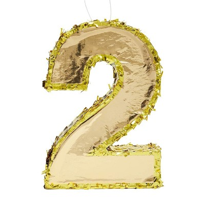 Juvale Small Number 2 Gold Foil Pinata, Second Birthday Party Supplies, 16 x 10.5 x 3 Inches