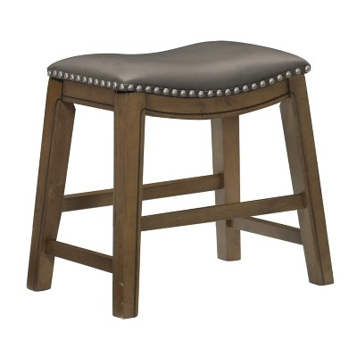 Homelegance 18-Inch Dining Height Wooden Bar Stool with Solid Wood Legs and Faux Leather Saddle Seat Kitchen Barstool Dinning Chair, Brown and Gray