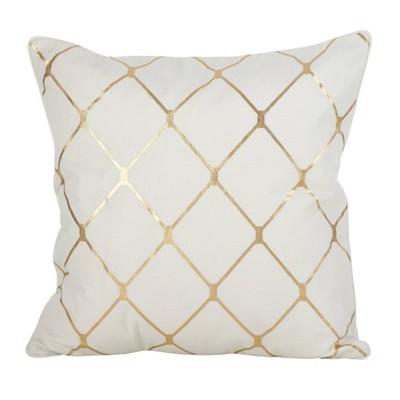 Down Filled Metallic Diamond Design Throw Pillow Gold - Saro Lifestyle