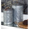 3pc Decorative Galvanized Metal Canister Set Silver - Olivia & May - image 2 of 4