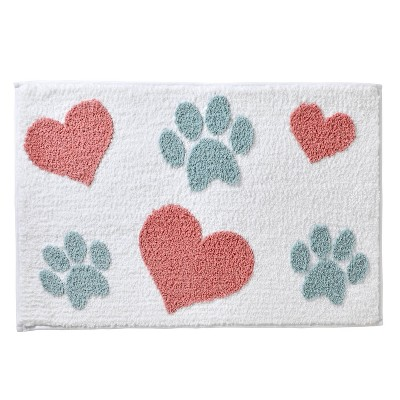 """20""""x30"""" Hearts and Paws Bath Rug White/Pink - SKL Home"""