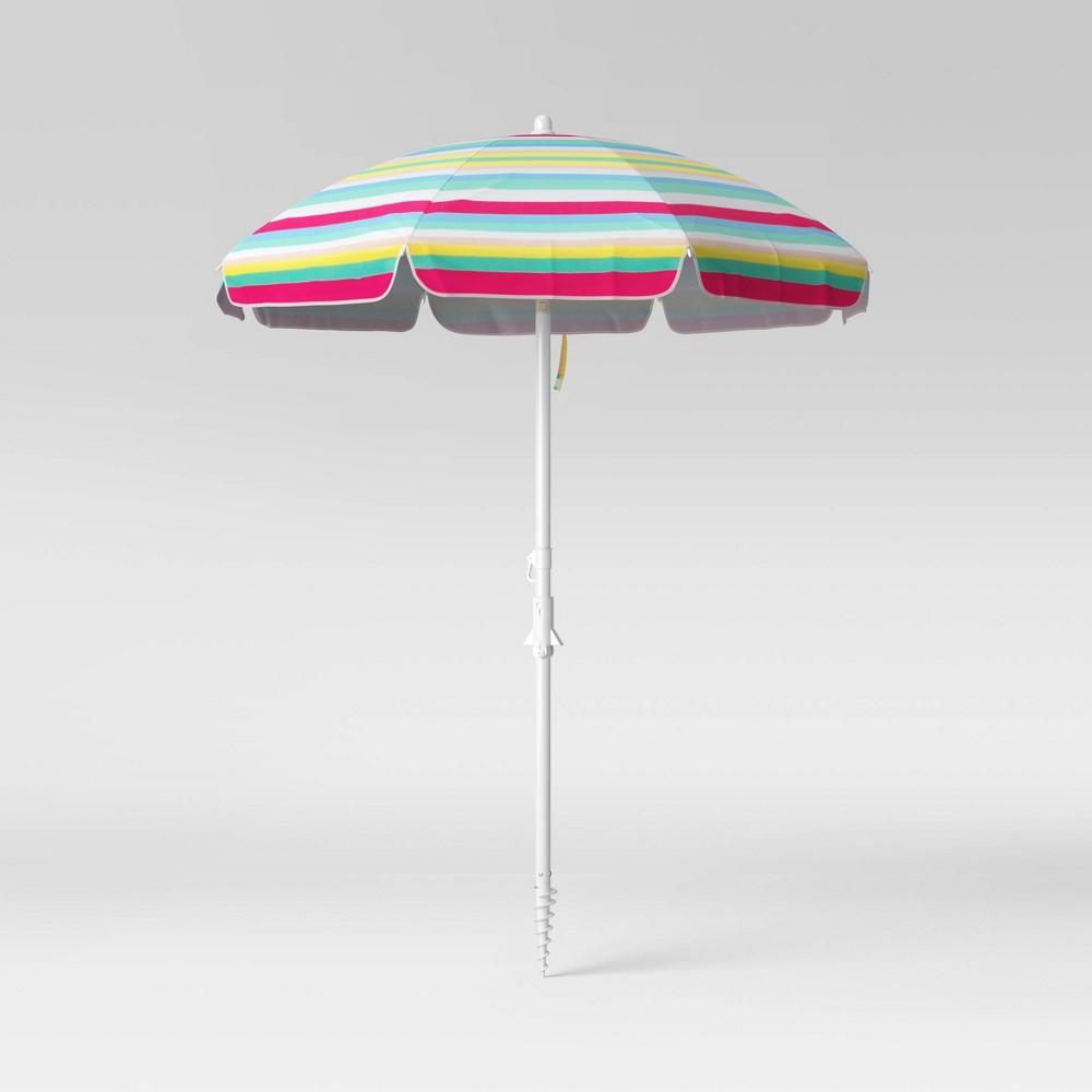 Promos 6' Beach Sand Umbrella - Stripe - Sun Squad™