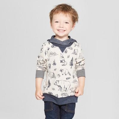 Genuine Kids® from Oshkosh Toddler Boys' Crew Sweatshirt with Hood Wilderness Critters - Tan 12M