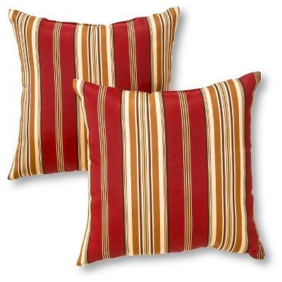 Set of 2 Roma Stripe Outdoor Square Throw Pillows - Kensington Garden
