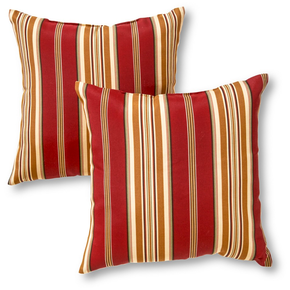 Set Of 2 Roma Stripe Outdoor Square Throw Pillows Kensington Garden