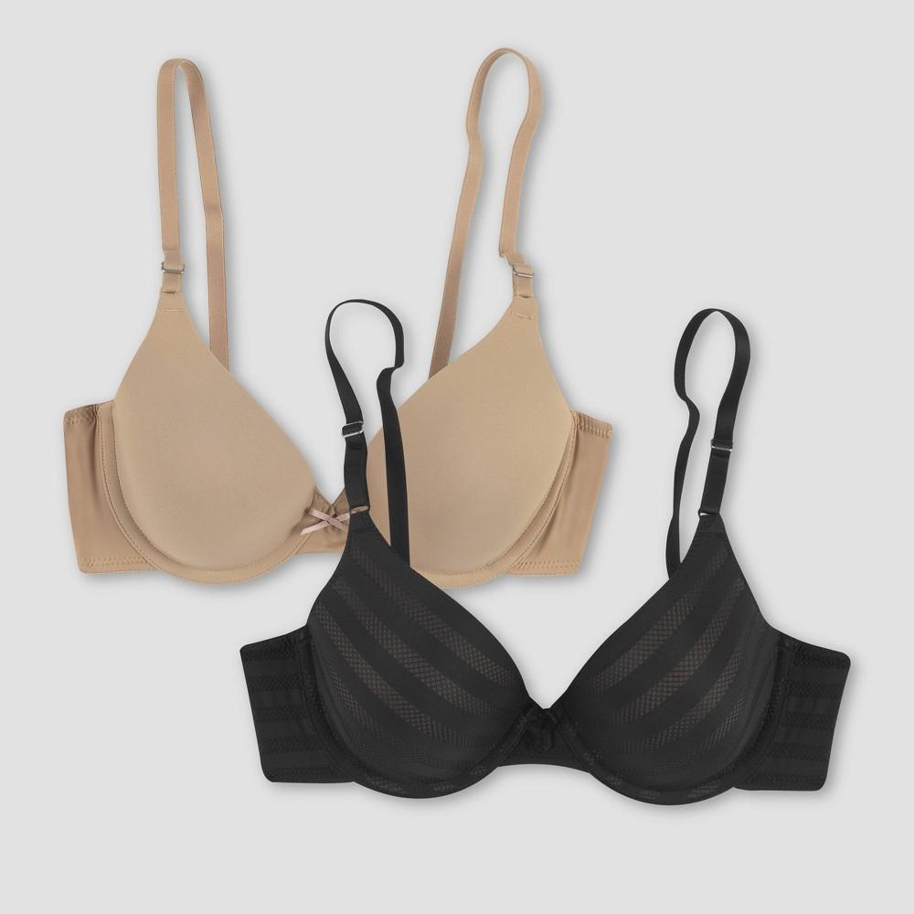 Maidenform Self Expressions Women 39 S Striped T Shirt Bra 5701 2pk Beige Black Stripe 38b