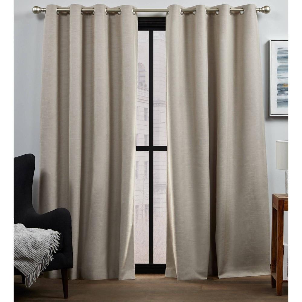 "Set of 2 84""x52"" Bensen 100% Blackout Grommet Top Curtain Panel Brown - Exclusive Home"