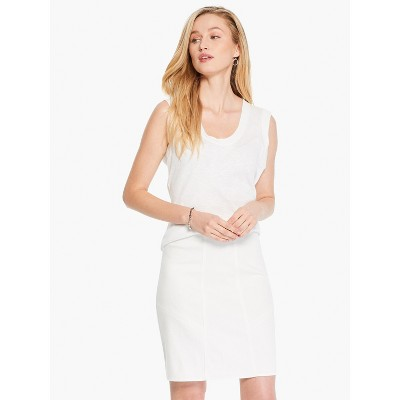 NIC+ZOE Women's Seams To Be Denim Skirt Paper White