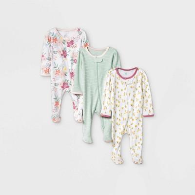 Baby Girls' 3pk Meadow Zip-Up Sleep N' Play - Cloud Island™ White 3-6M