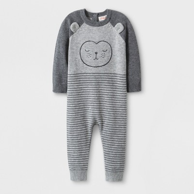 Baby Boys' Sweater Romper with Horizontal Stripes and Critter Face - Cat & Jack™ Gray Newborn