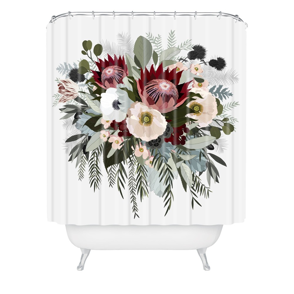 Image of Adeline Sun Shower Curtain - Deny Designs, Red Green