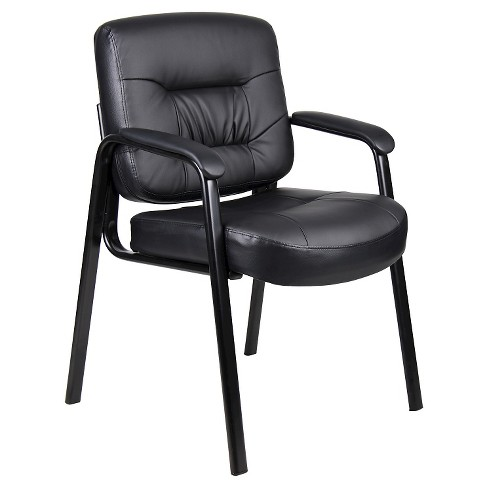 Executive Mid Back Leatherplus Guest Chair Black - Boss Office Products - image 1 of 4