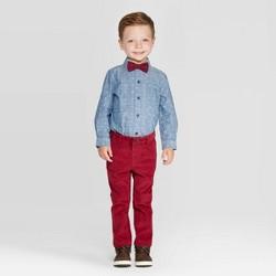 Toddler Boys' 3pc Stripe Shirt & Pants Along With Bowtie Set - Cat & Jack™ Blue/Red
