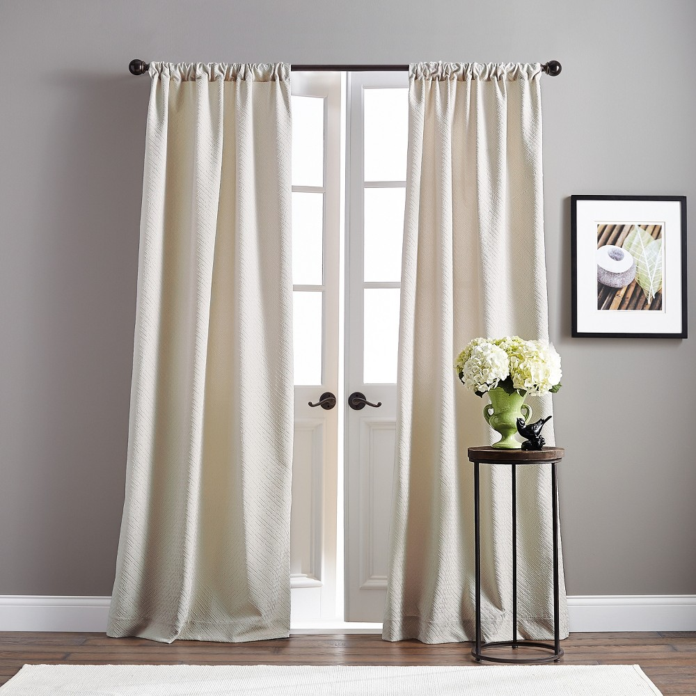 "Image of ""108"""" Basket Poletop Pair Curtain Panel Taupe"""