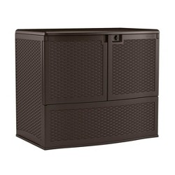 Suncast 195 Gallon Resin Wicker Patio Oasis Storage & Entertaining Station, Java