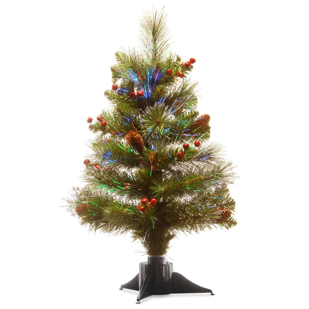 Image of 2ft Unlit Artificial Christmas Tree LED Fiber Optic Crestwood Spruce - National Tree Company, Green