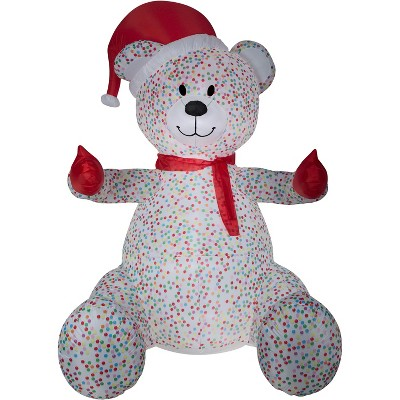 Gemmy Animated Airblown Inflatable Hugging Candy Sprinkles Bear w/Santa Hat and Scarf Giant, 8.5 ft Tall