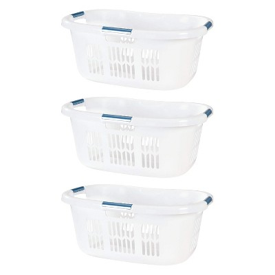 Rubbermaid 2.1-Bushel Small Hip-Hugger Portable Plastic Laundry Basket with Grab-Through Handles, White (3-Pack)