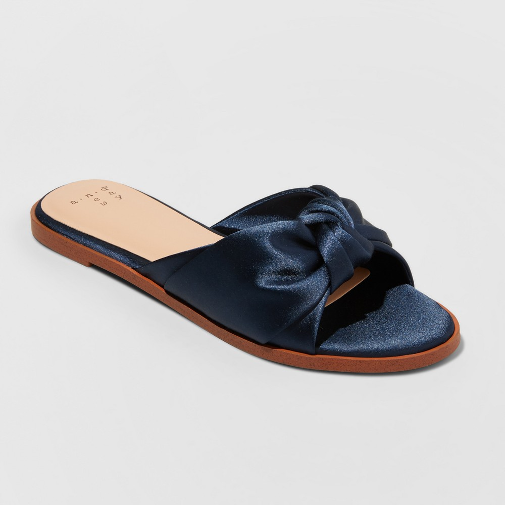 Women's Stacia Wide Width Knotted Satin Slide Sandals - A New Day Navy (Blue) 12W, Size: 12 Wide