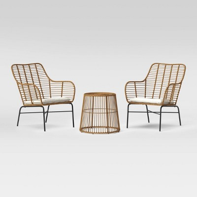 3pc Natural Resin Wicker Patio Chat Set - Linen - Project 62™