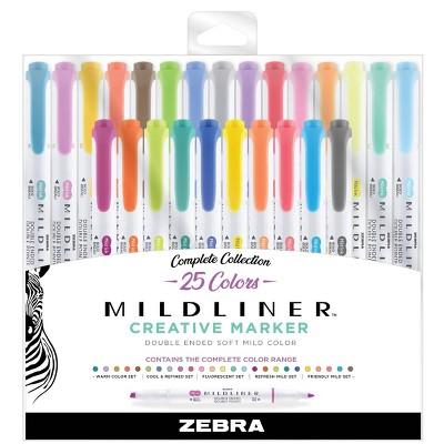25ct Highlighters Mildliner Double Ended Standard Colors- Zebra